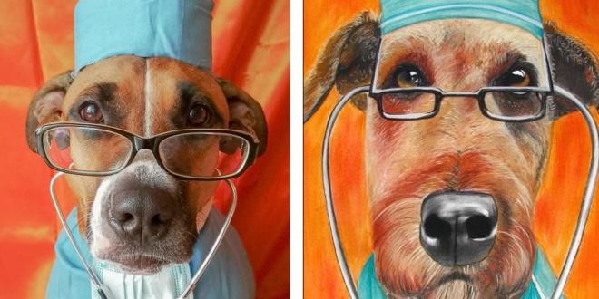 كلب يعيد تمثيل اللوحات الكلاسيكية الأشهر فى التاريخ
