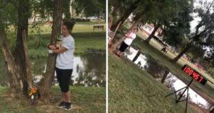 امرأة تعانق شجرة لمدة 10 ساعات متواصلة وتدخل موسوعة جينيس