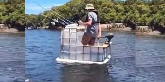 الحاجة أم الاختراع..صياد أسترالى يصنع قارب بمحرك من خزان مياه بلاستيك