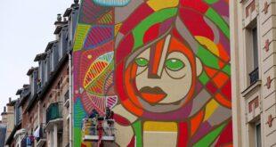 لوحة عملاقة بشارع باريسى لإحياء الأمل فى النفوس بعد عزلة فيروس كورونا